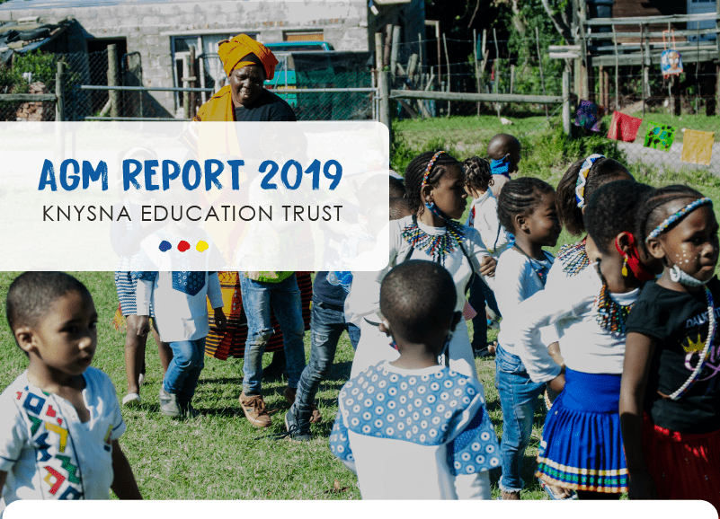 A teacher outside with a group of young children - the cover for the Knysna Education Trust's AGM report 2019