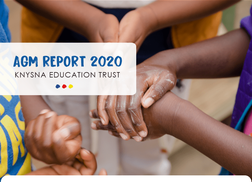 Children washing their hands in a circle - the cover for the Knysna Education Trust's AGM report 2020